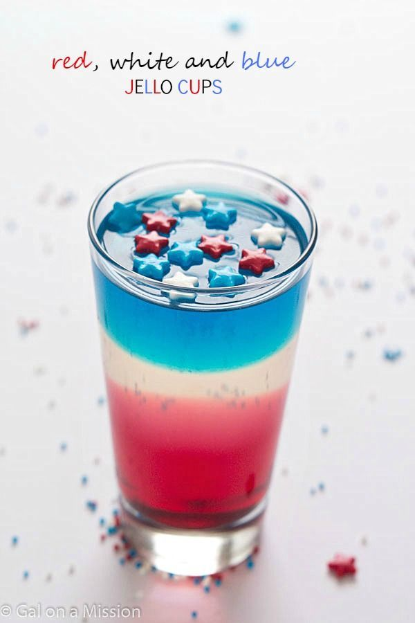 Red, White and Blue Jello Cups - Impress your guests or kids with these patriotic cups for Memorial Day or 4th of July!