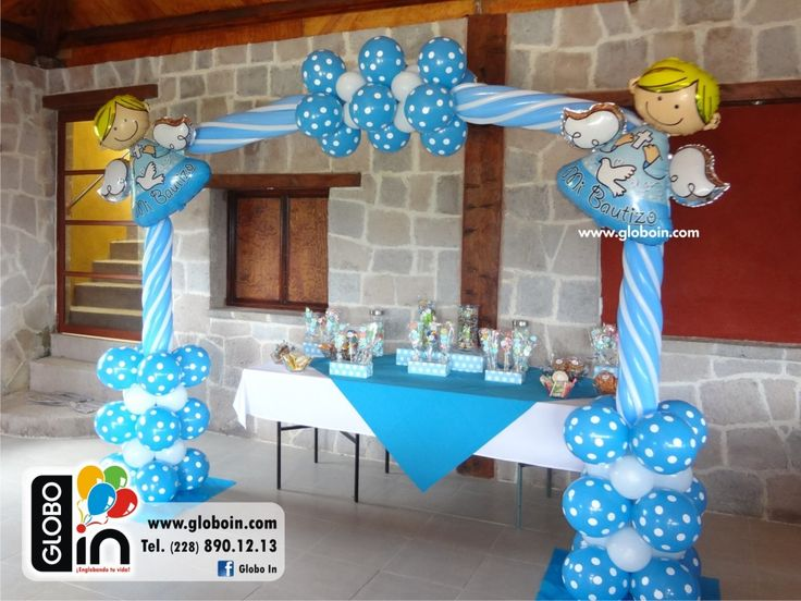 Decoracion con globos para bautizo angeles y arco globos for Decoracion de globos para bautizo