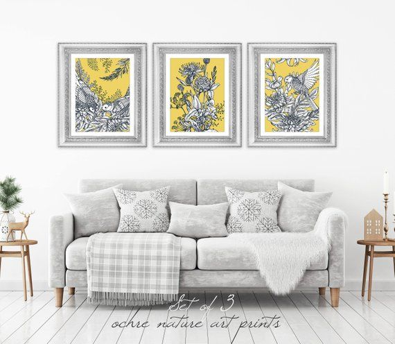 Set Of 3 Mustard Yellow Decor Yellow Wall Art Yellow Grey Wall