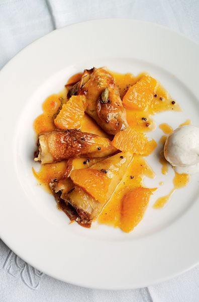 Classic Crepes Suzette with a touch of cardamom