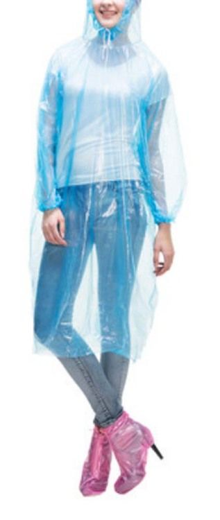 Poncho Raincoat Disposable Rain Ponchos/Set Of 2