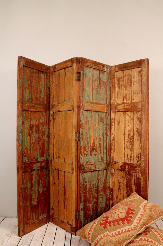 Antique Multi-Color Indian Green Gold Four Panel Screen Wood Room Divider Door Headboard on Etsy, $599.00