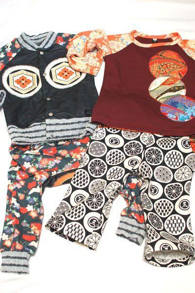 和柄男の子キッズ服 カーディガン&モンキーパンツ ロンTとパンツ-手作り子供服の通販店 神の手