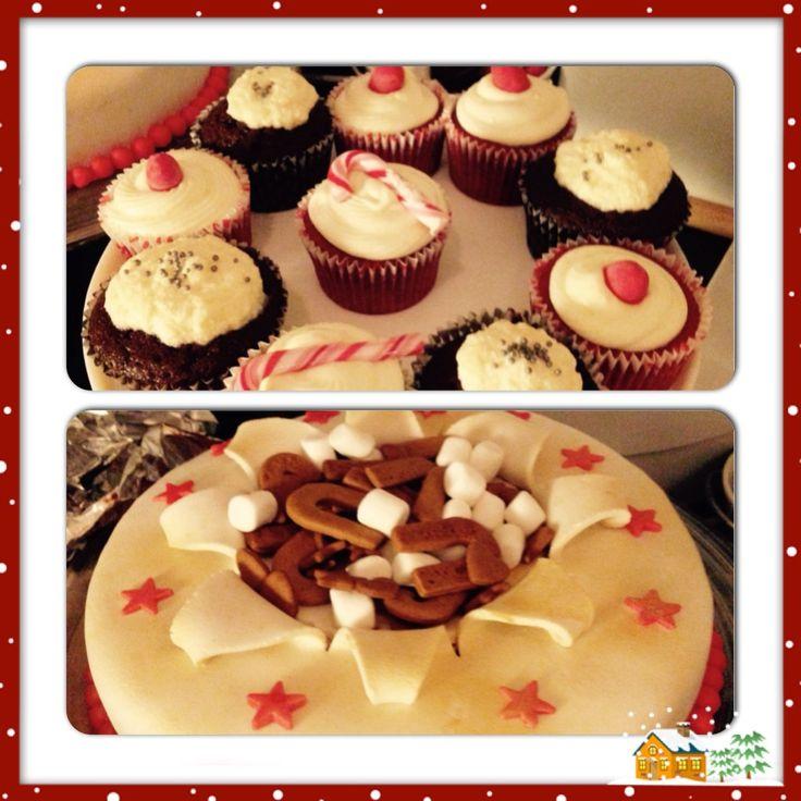 Xmas 2014 cake and cupcakes