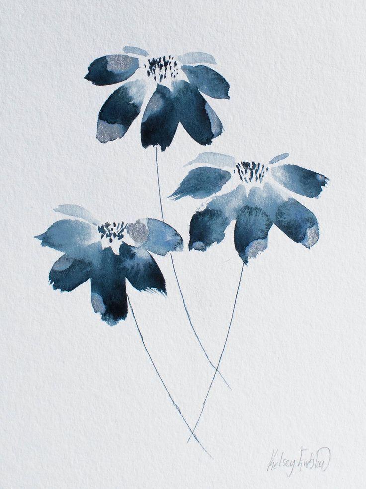 Aquarell Blaue Blumen Malerei Silberblatt 6 X 8 Farben Silver