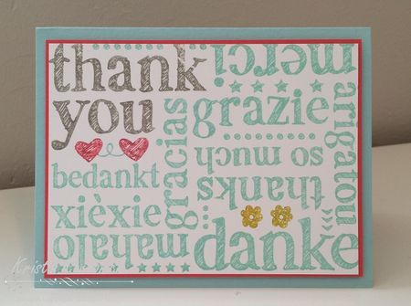 A cute and simple thank you card by Kristin Kortonick featuring the World of Thanks stamp by Stampin' Up!