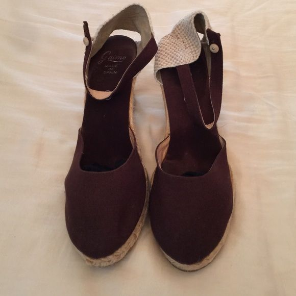 Brown espadrilles with wedge made in Spain Brown espadrilles sz9 made in Spain worn once Shoes Wedges