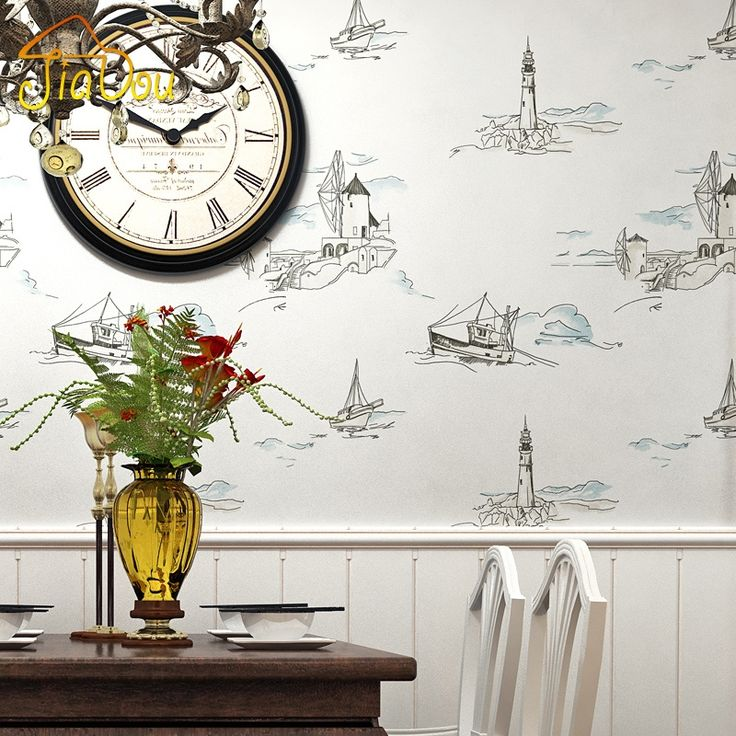 24.25$  Buy now - http://alikd6.shopchina.info/go.php?t=32522151199 - Mediterranean Sailing Yacht Lighthouse Non-woven Wallpaper Living Room Bedroom Backdrop Wallpaper For Kids Room Wallpapers Roll 24.25$ #magazine