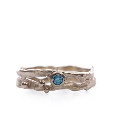 Ring in goud met blauwe diamant | Wim Meeussen Goudsmid Antwerpen