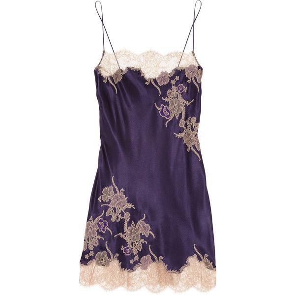 Carine Gilson Théme Tamara lace-appliquéd silk-satin chemise (€590) ❤ liked on Polyvore