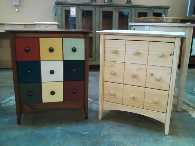 An example of just how versitile solid, unfinished wood furniture can  offer. General Finishes