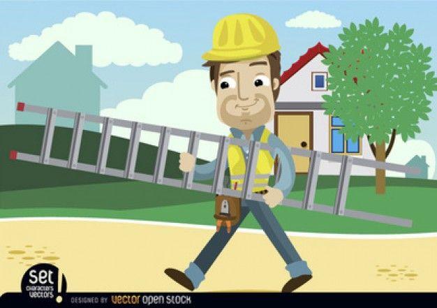 Homem dos desenhos animados com escada