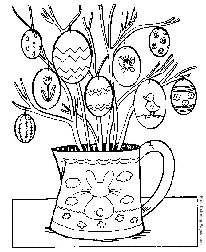 easter coloring pictures easter egg tree