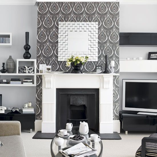 Graphic Look In Black And White Accent Wall Living Room DesignsLiving IdeasLiving
