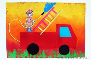 Fireman on the Go.  Could use that pack of red, orange, and yellow bleeding tissue paper for this.: Crafts Ideas, Firefighters Crafts, Activities For Kids, Fire Safety, Trucks Crafts, Fire Trucks, Kids Crafts, Community Helper, Fire Fighter