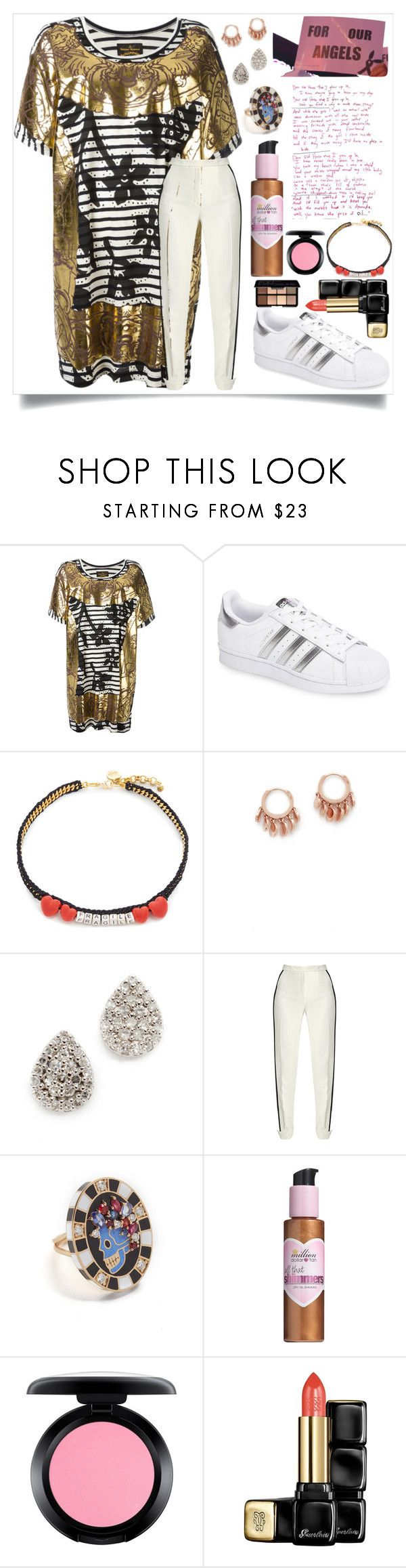 """For our Angels...."" by camry-brynn ❤ liked on Polyvore featuring Vivienne Westwood Anglomania, adidas, Venessa Arizaga, Jacquie Aiche, Adina Reyter, Elie Saab, Holly Dyment, Million Dollar Tan, MAC Cosmetics and Guerlain"