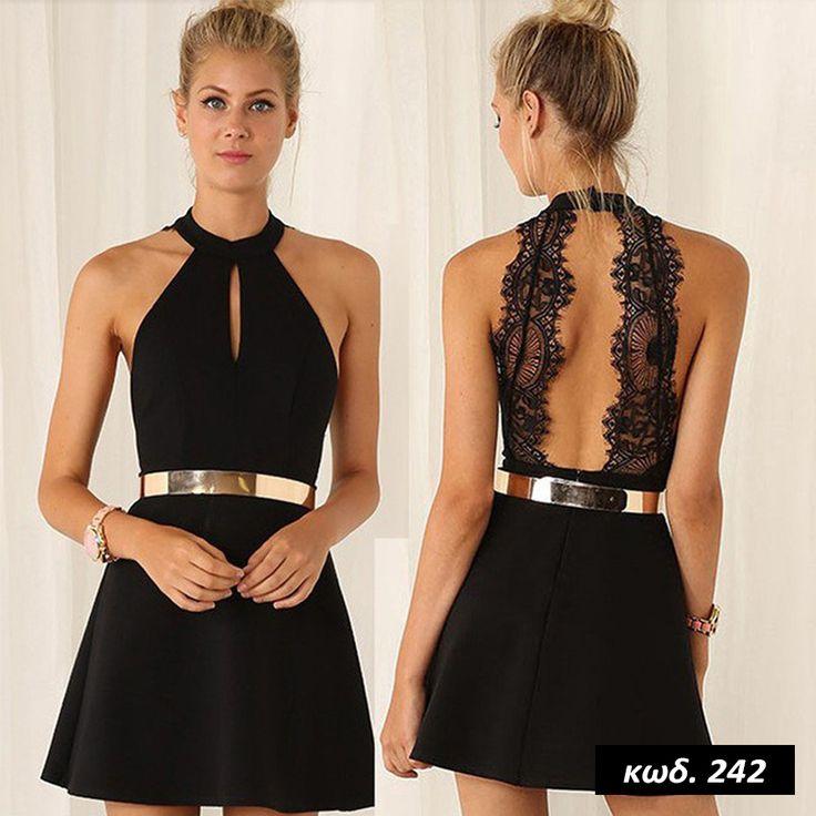 Κωδικός AD242, Υλικό Συνθετικό Δαντέλα, Cotton Blend Lace Material, Χρώμα Μαύρο, Black Color, O Neck Collar, Halterneck, Αμάνικο, Sleeveless, Εξώπλατο, Lace Open Back, Backless, Mini Dress, Sexy,  Chic, One Size