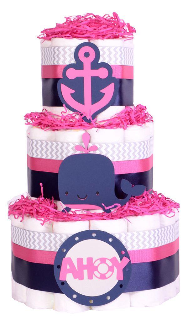 Nautical Girls Pink Baby Shower Nappy Cake   Hamper Gift