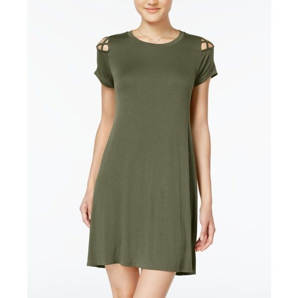 Planet Gold Juniors' Strappy-Shoulder T-Shirt Dress ($29) ❤ liked on Polyvore featuring dresses, green, green color dress, t shirt dress, planet gold dresses, strappy dress and cutout dresses