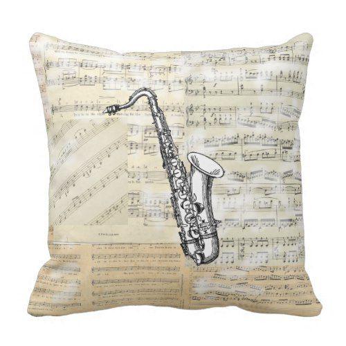 Vintage Saxophone Music Pillow