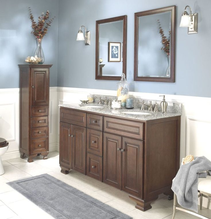 Bathroom. Blue and brown bathroom sets, grey bathroom, gray mat, small mirror, cabinet bathroom. Magnificent blue and brown bathroom sets decor