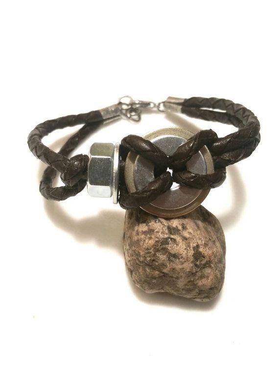 Jewelry Guy Bracelet Mens Leather Bracelet Mens by AbsoluteJewelry