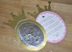 Einladung zum Kindergeburtstag Prinzessin selber basteln. Spieglein Spieglein an der Wand, wer