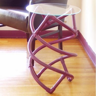 PVC Side Table What do you get when you combine PVC pipe, elbows, and a round glass tabletop? Why, a unique side table for a modern living room, of course. Add longer pipe lengths for a higher table, or go for shorter pipe lengths and choose a wider tabletop to make a coffee table.