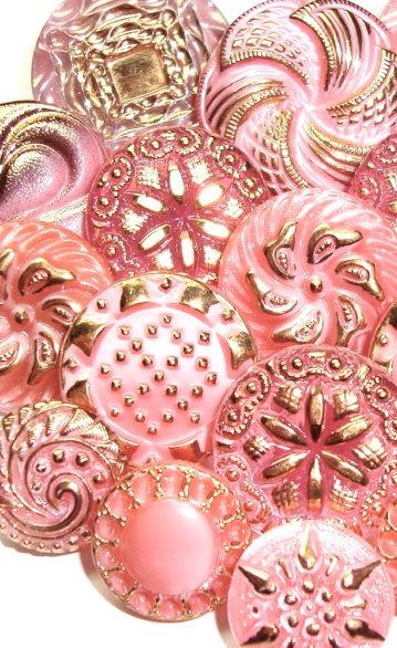 Glittery pink vintage Czech glass buttons.