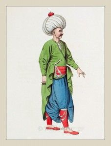 Ottoman Empire Elite army. Janissary Inferior Officer Military Costume