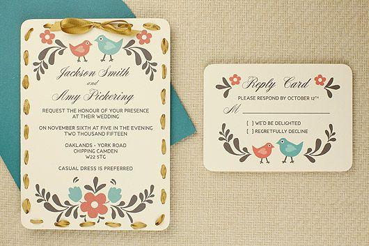 Free printable folksy wedding invitation and RSVP card.