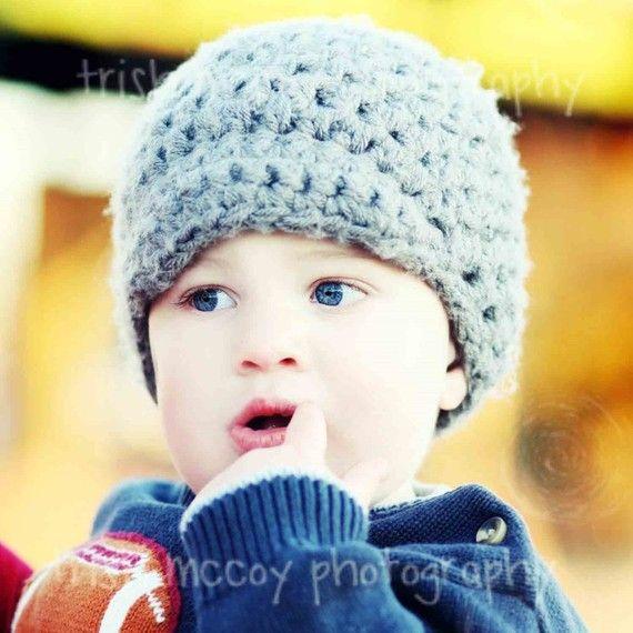 Crochet Boy Beanie Hat with Visor  Silver/Gray by delightcrochet, $22.00