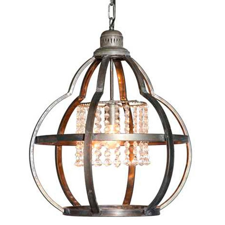 Quatrefoil Cage And Crystals Pendant Light