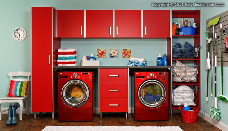 I want this for the garage. Washer and dryer spot would be filled with garbage/recycling containers.
