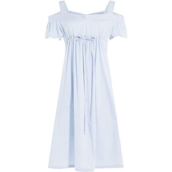 Jil Sander Navy Striped Dress ($200) ❤ liked on Polyvore featuring dresses, stripes, evening dresses, white off the shoulder dress, white evening dresses, blue summer dress and off the shoulder summer dress