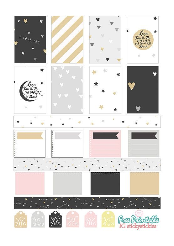 Free Printable Planner Stickers 'Love you to the moon & back' | Source: stickystickies