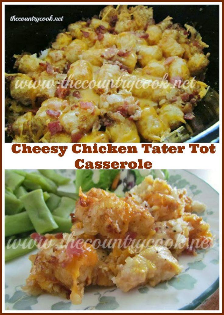 crock pot cheesy chicken tater tot casserole tater tot casserole ...