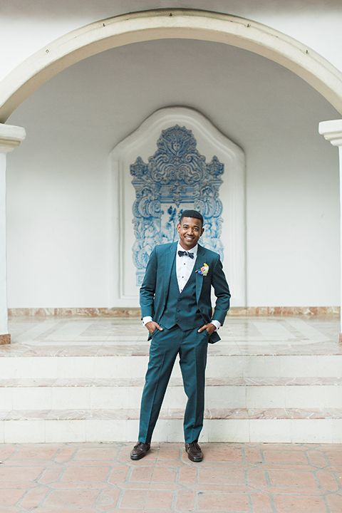 Spanish Inspired Al Fresco Wedding Blue Suits And Tuxedos Pinterest Boutonnieres Event Planning Design Weddings