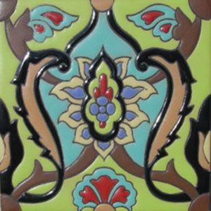Cuerda Seca Decorative Tile Rvl 215 Black