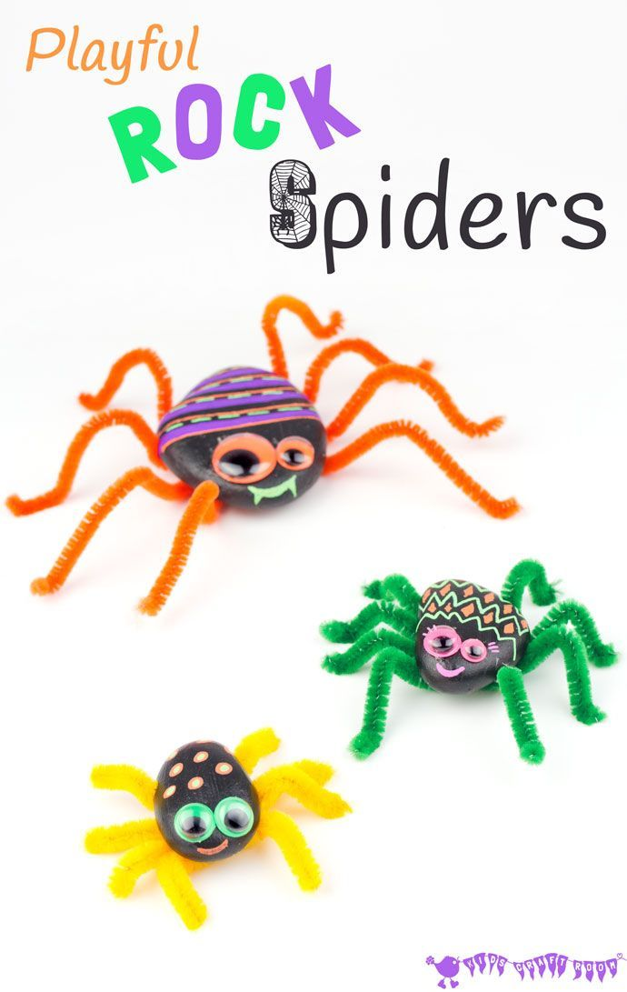 This PLAYFUL ROCK SPIDER CRAFT is adorably cute! Homemade spiders are fab as a Halloween craft, year round imaginative play and for acting out Itsy Bitsy Spider songs!