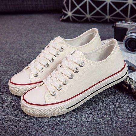 14bfc09e254c4a Shop Fashion Sneakers - White Cotton Women s Lace-Up Flat Fashion Sneaker  online. Discover unique designers fashion at JustFashionNow.com.