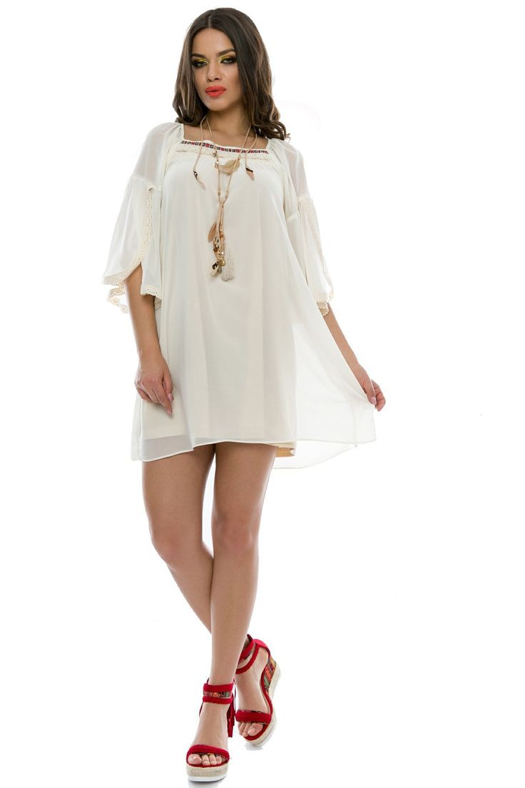 Rochie Kendall Ivory 169 lei Rochie scurta din voal