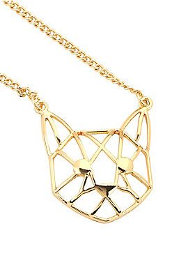 Feline fabulous // Geo Cat Gold Chain Necklace