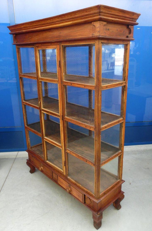 Vetrina in legno esotico inizio '900 alta 170 cm lunga 126 cm da centro