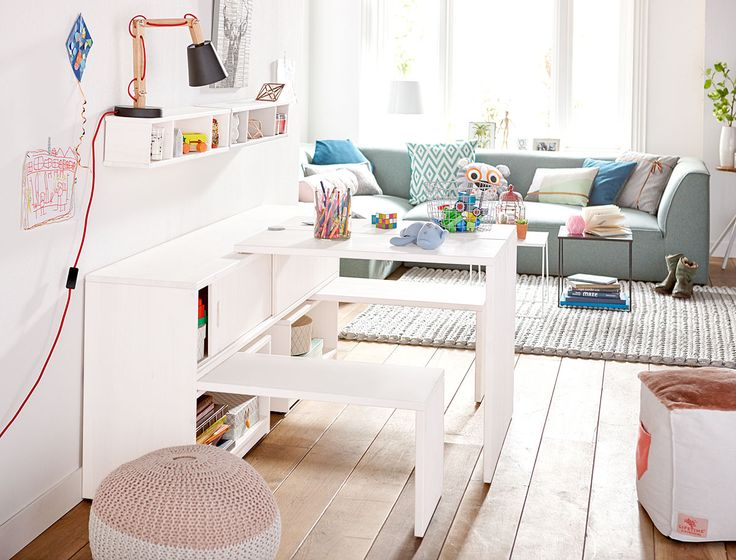 Multi-functional Cupboard Unit Play & Store White  by Lifetime Kidsrooms Solid Wood for Children Playtable Storage