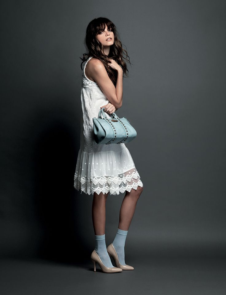 Fornarina ADV SS 2014 with Jeisa Chiminazzo #White #Lace #Bag #Studs