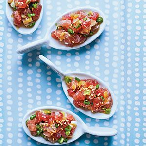 TUNA TARTARE a bowl alongside taro or other crisp chips for a cocktail party snack. (It's best served right away; as it sits