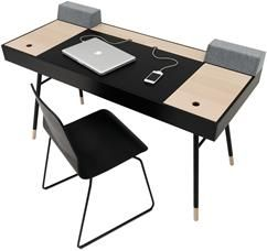 Cupertino desk, the product is available in different colours. As shown, black-stained oak veneer/oak veneer/matt black structure lacquered. W140xD60cm