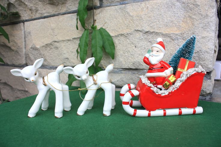 Vintage Holt Howard Christmas Reindeer Candy Cane Sleigh Sleigh Planter Vase Set Lefton Santa Figurines Collectibles Decorations by PurpleHousePicks on Etsy