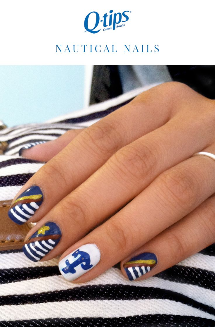 ... this nautical-inspired manicure is perfect for any summer occasion! For  smooth sailing, use Q-tips Precision Tips to perfect your nail art ...